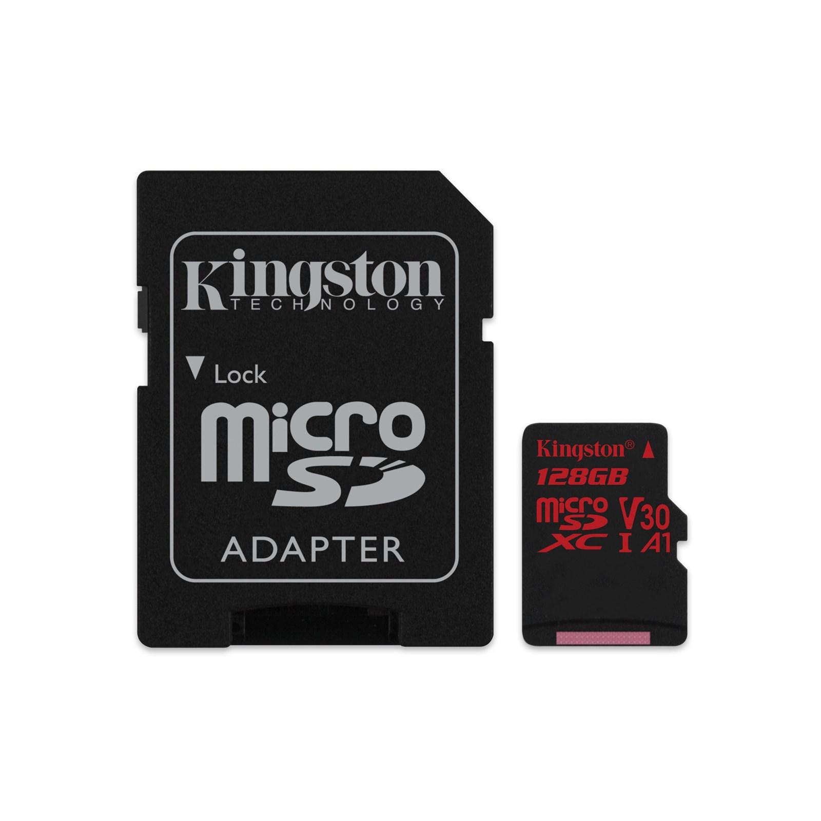 128GB microSDXC Kingston Canvas React U3 100R/70W V30 A1 + SD adapter