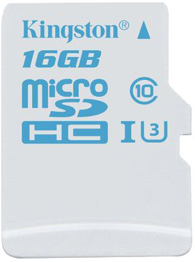 16GB microSDHC Kingston UHS-I U3 Action Card, 90R/45W bez adapteru