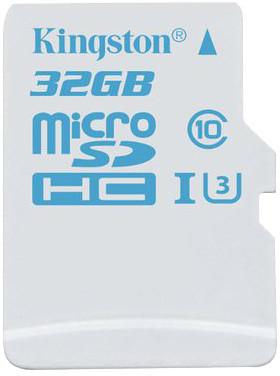 32GB microSDHC Kingston UHS-I U3 Action Card, 90R/45W bez adapteru