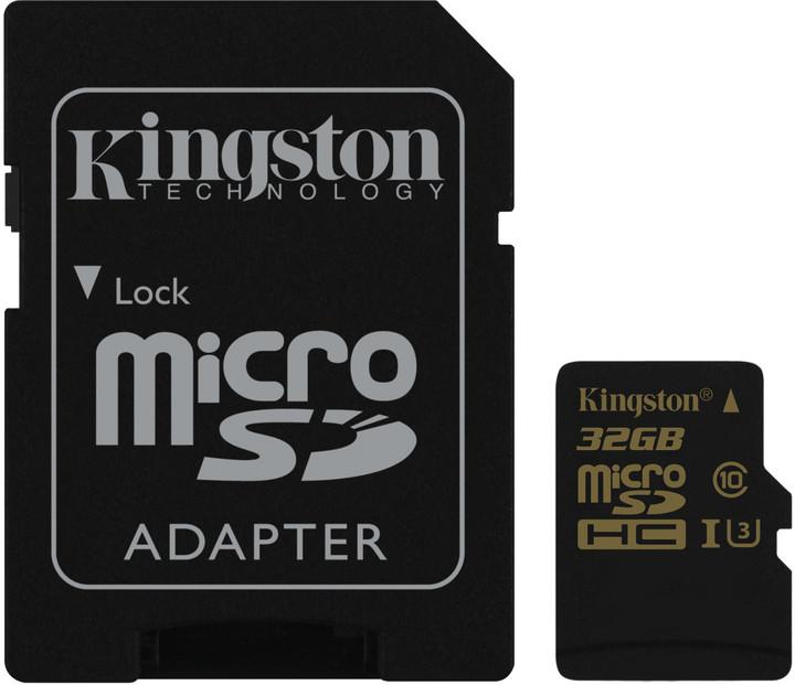 32GB microSDHC Kingston UHS-I U3 90R/45W