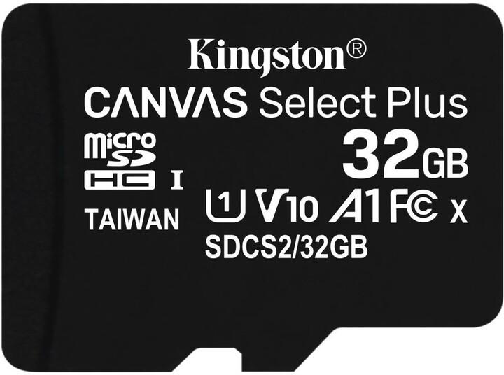 32GB microSDHC Kingston Canvas Select Plus  A1 CL10 100MB/s bez adapteru - SDCS2/32GBSP