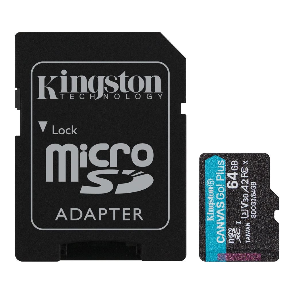64GB microSDXC Kingston Canvas Go! Plus A2 U3 V30 170MB/s + adapter - SDCG3/64GB