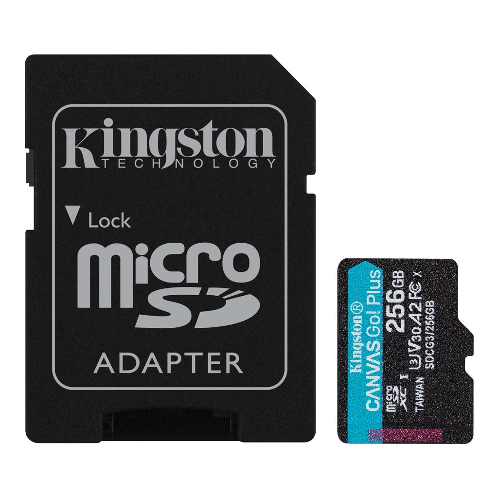 256GB microSDXC Kingston Canvas Go! Plus A2 U3 V30 170MB/s + adapter - SDCG3/256GB