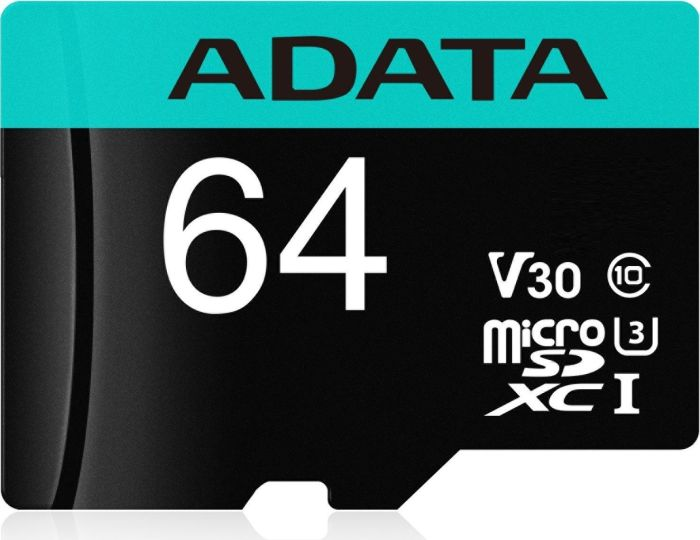 ADATA MicroSDXC 64GB U3 V30S až 95MB/s + adapter - AUSDX64GUI3V30SA2-RA1