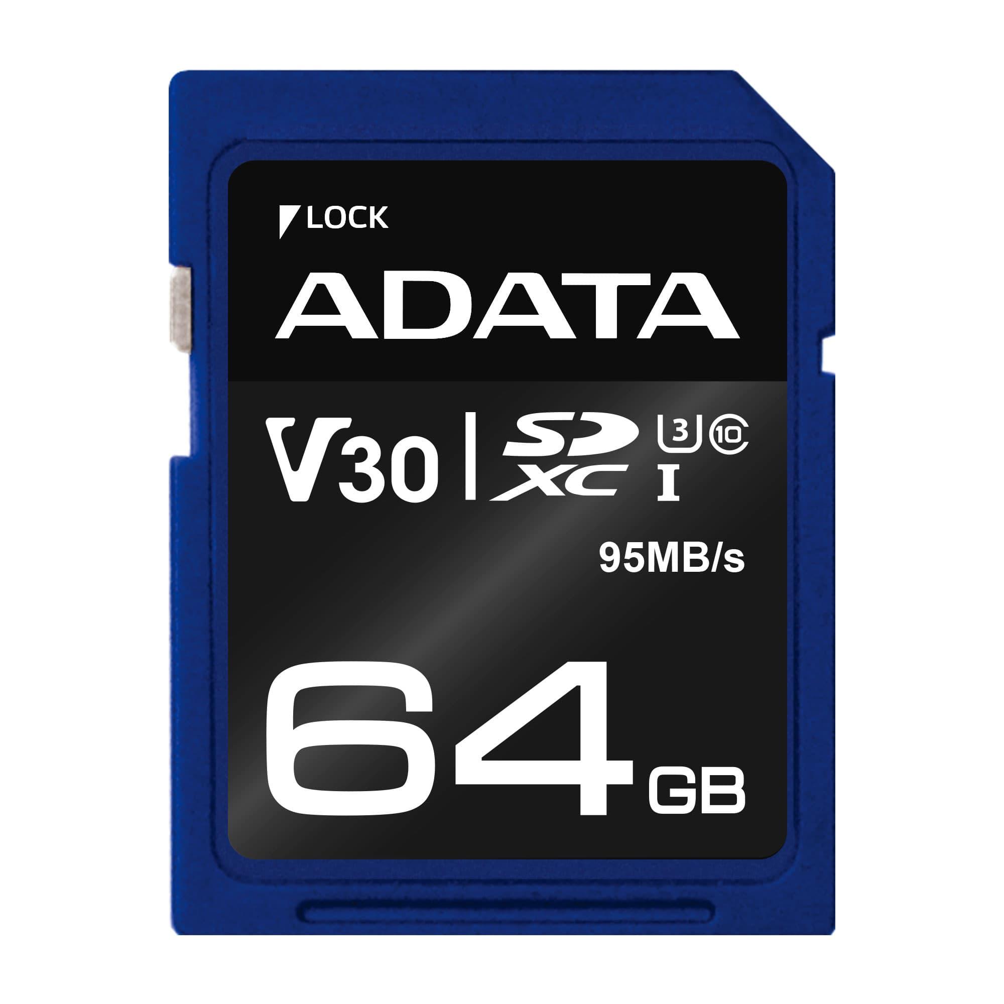 ADATA SDXC 64GB UHS-I U3 V30S 95/60MB/s - ASDX64GUI3V30S-R