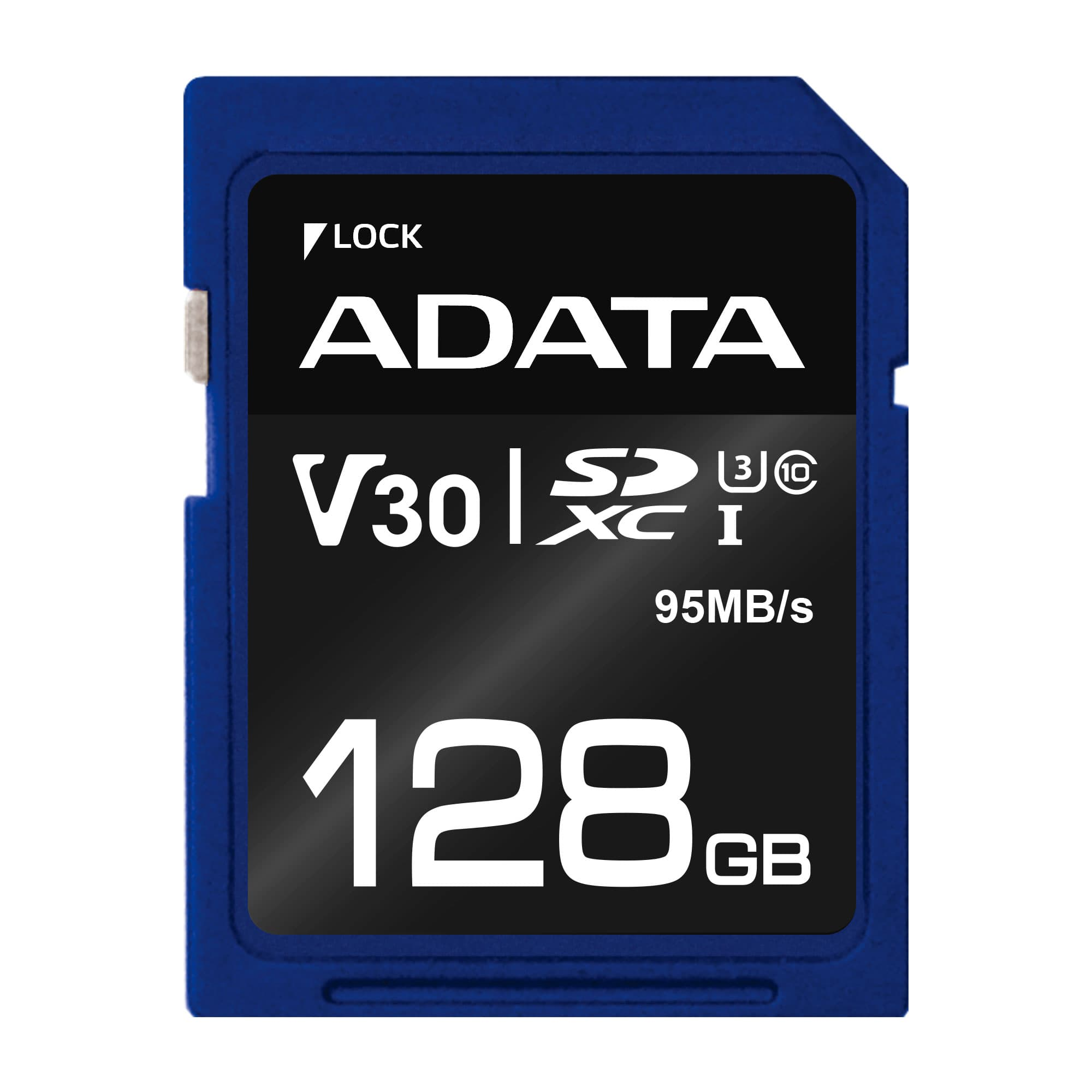 ADATA SDXC 128GB UHS-I U3 V30S 95/60MB/s - ASDX128GUI3V30S-R