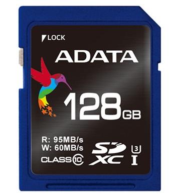 ADATA SDXC 128G U3, Class 10 95/60MB/s