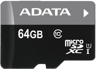 ADATA 64GB MicroSDXC Premier,class10 with Adapter - AUSDX64GUICL10-RA1