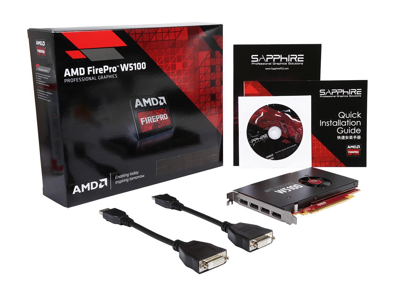 AMD FirePro W5100 - 4GB GDDR5, 4-DP, PCIe 3.0