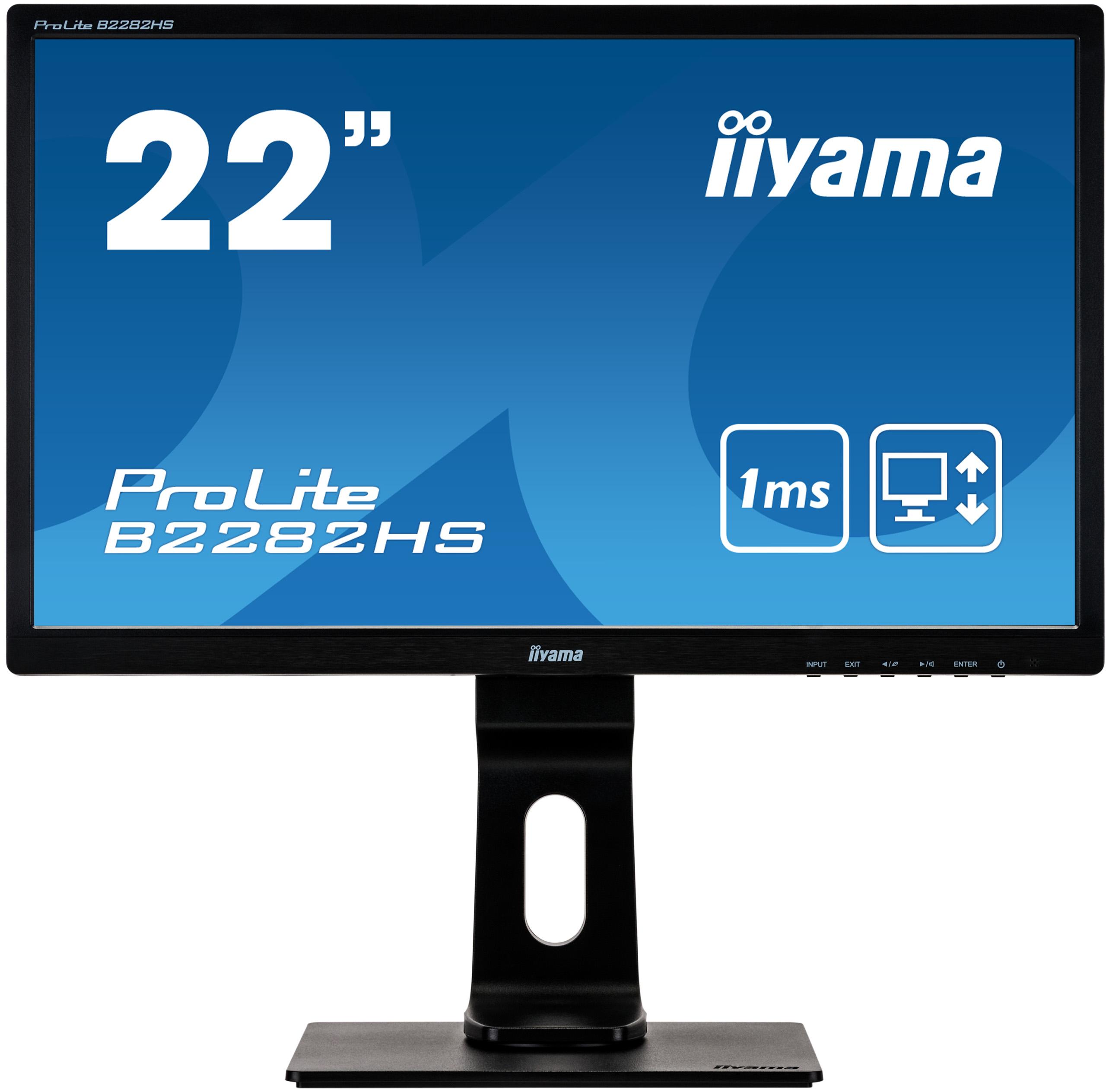 """22"""" iiyama B2282HS-B5: TN, FullHD@75Hz, 250cd/m2, 1ms, VGA, HDMI, DVI, height, pivot, černý"""