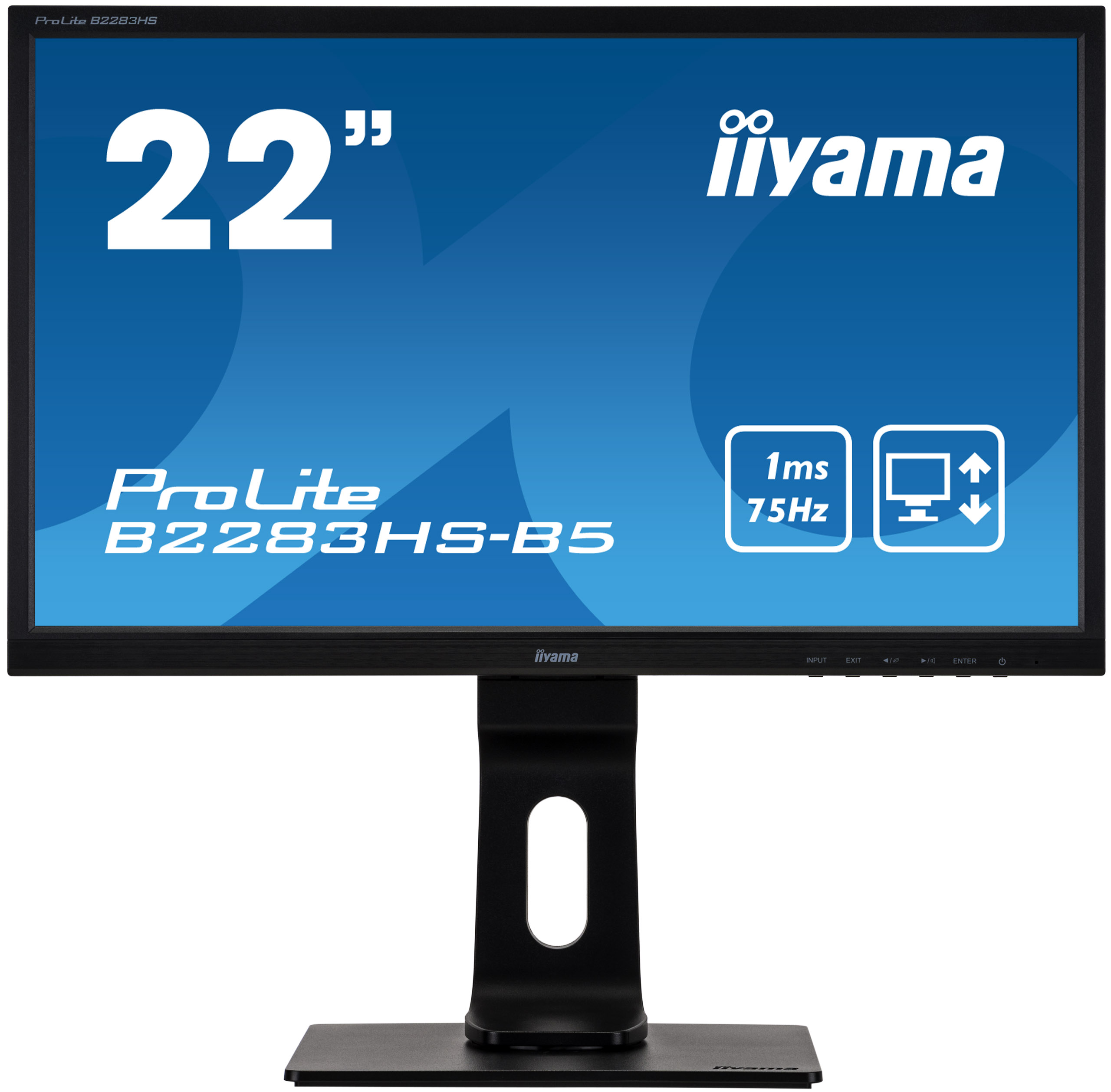"""22"""" iiyama B2283HS-B5: TN, FullHD@75Hz, 250cd/m2, 1ms, VGA, HDMI, DP, height, pivot, černý"""