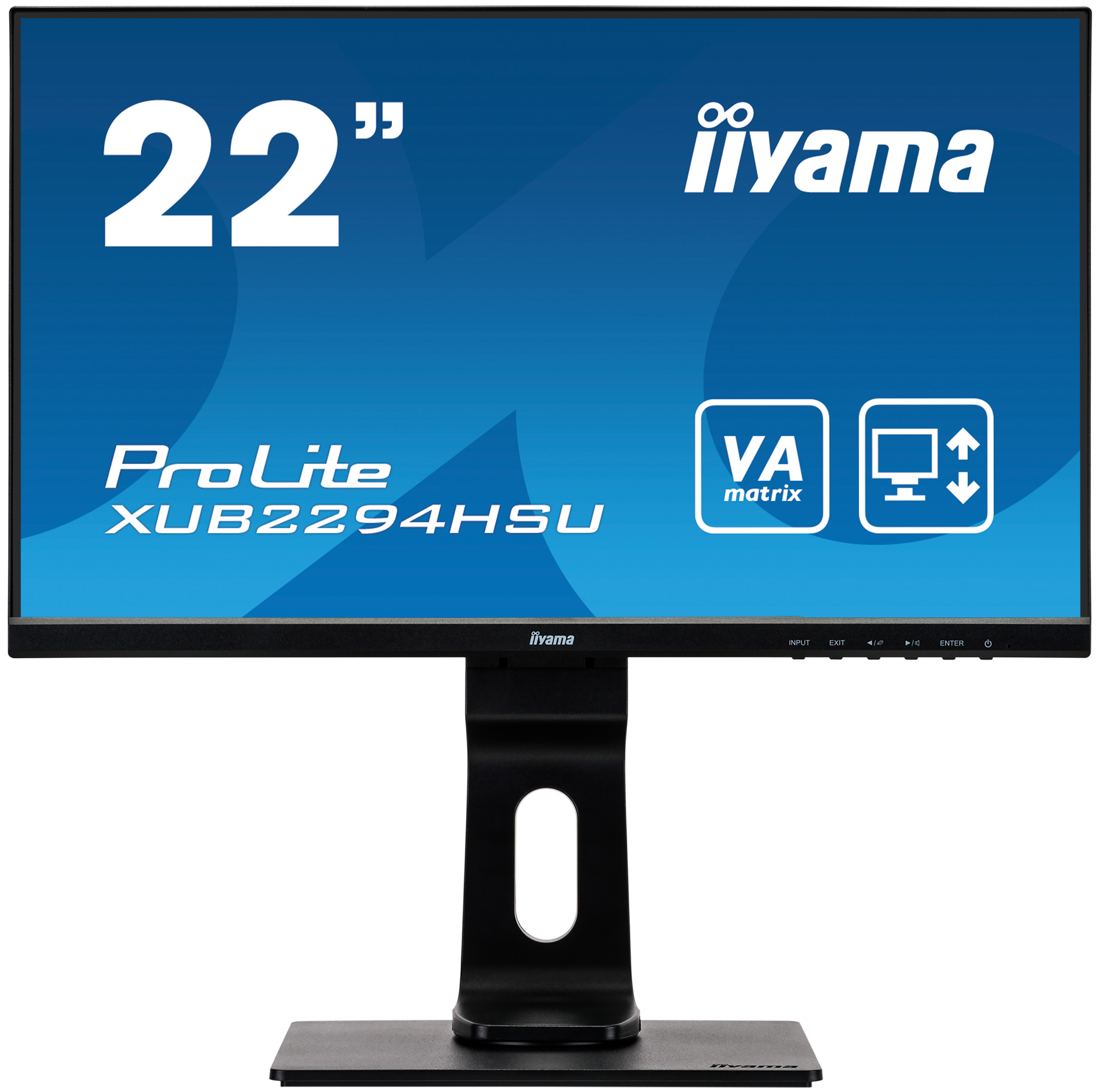 22'' iiyama XUB2294HSU-B1: VA, FullHD@75, 250cd/m2, 4ms, VGA, HDMI, DP, USB, height, pivot, černý