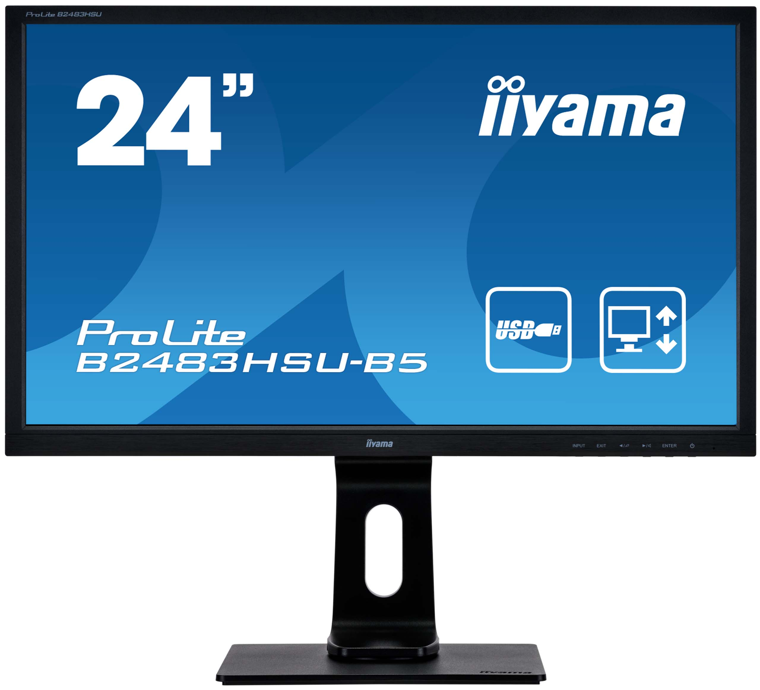 24'' iiyama B2483HSU-B5: TN, FullHD, 250cd/m2, 1ms, VGA, DP, HDMI, USB, height, pivot, černý