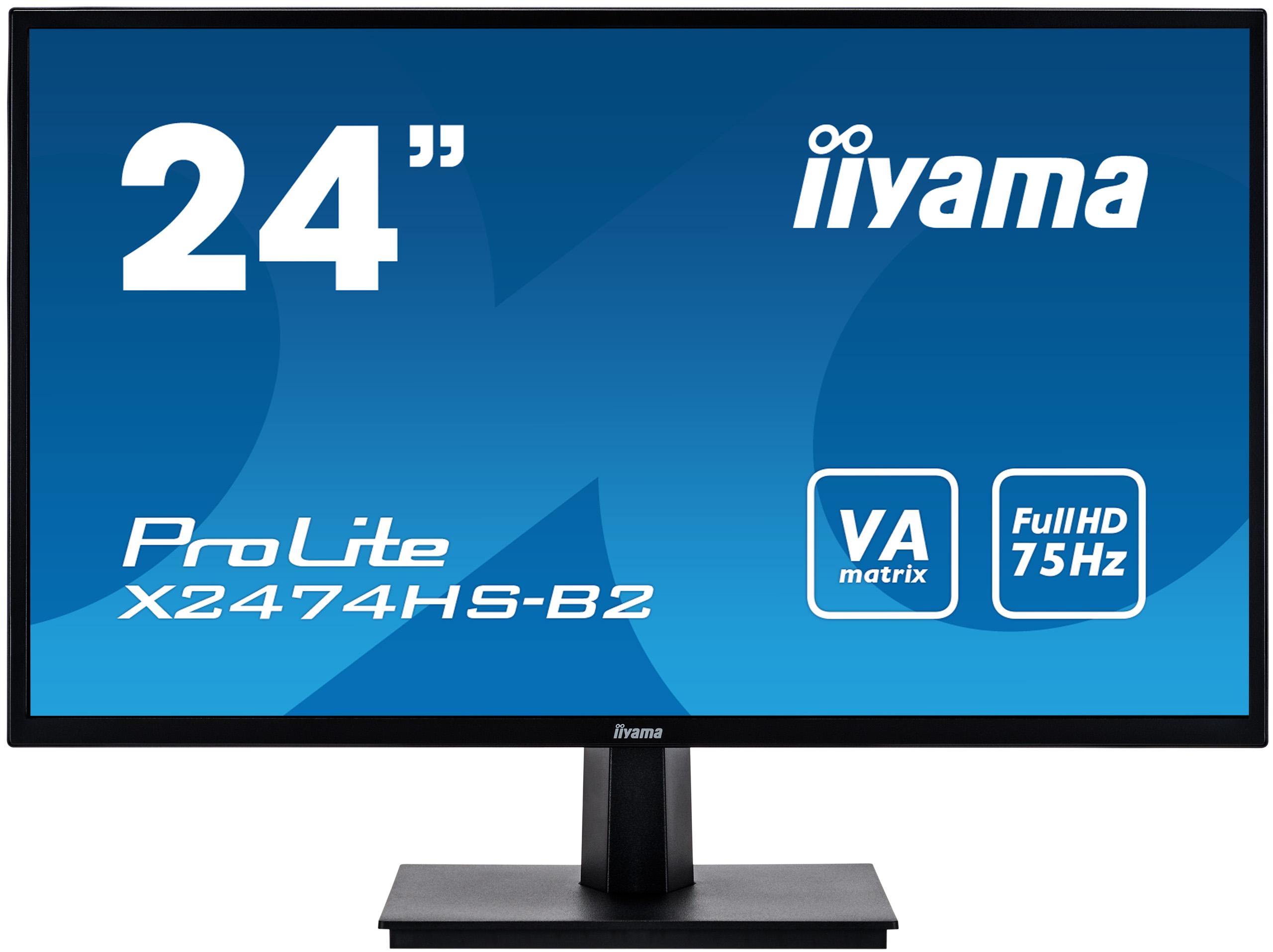 "24"" iiyama X2474HS-B2: VA, FullHD@75Hz, 250cd/m2, 4ms, VGA, HDMI, DP, černý"