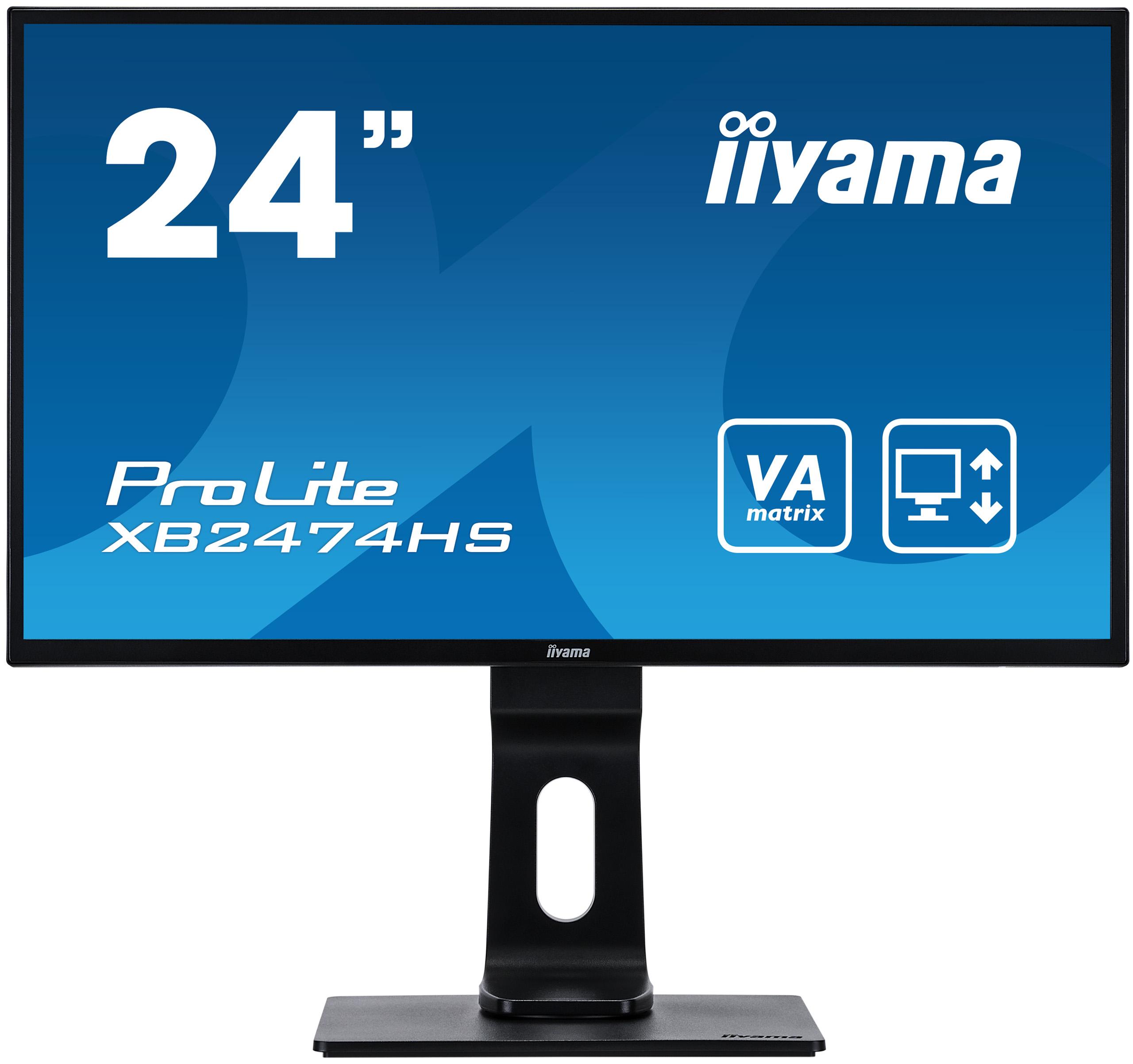 24'' iiyama XB2474HS-B2: VA, FullHD@75Hz, 250cd/m2, 4ms, VGA, HDMI, DP, height, pivot, černý - XB2474HS-B2