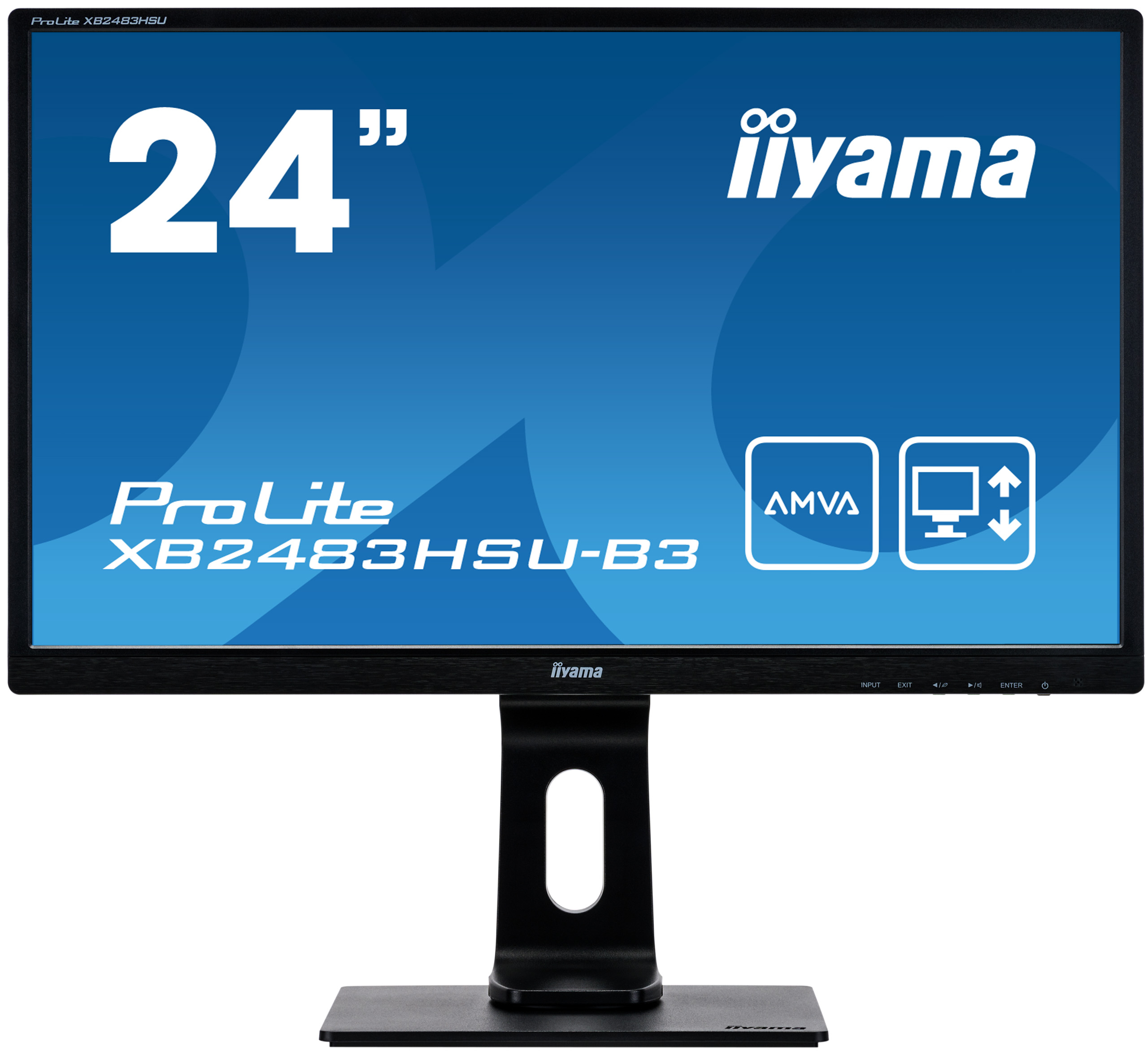24'' iiyama XB2483HSU-B3: AMVA, FullHD@75Hz, 250cd/m2, 4ms, VGA, HDMI, DP, USB, height, pivot, černý - XB2483HSU-B3