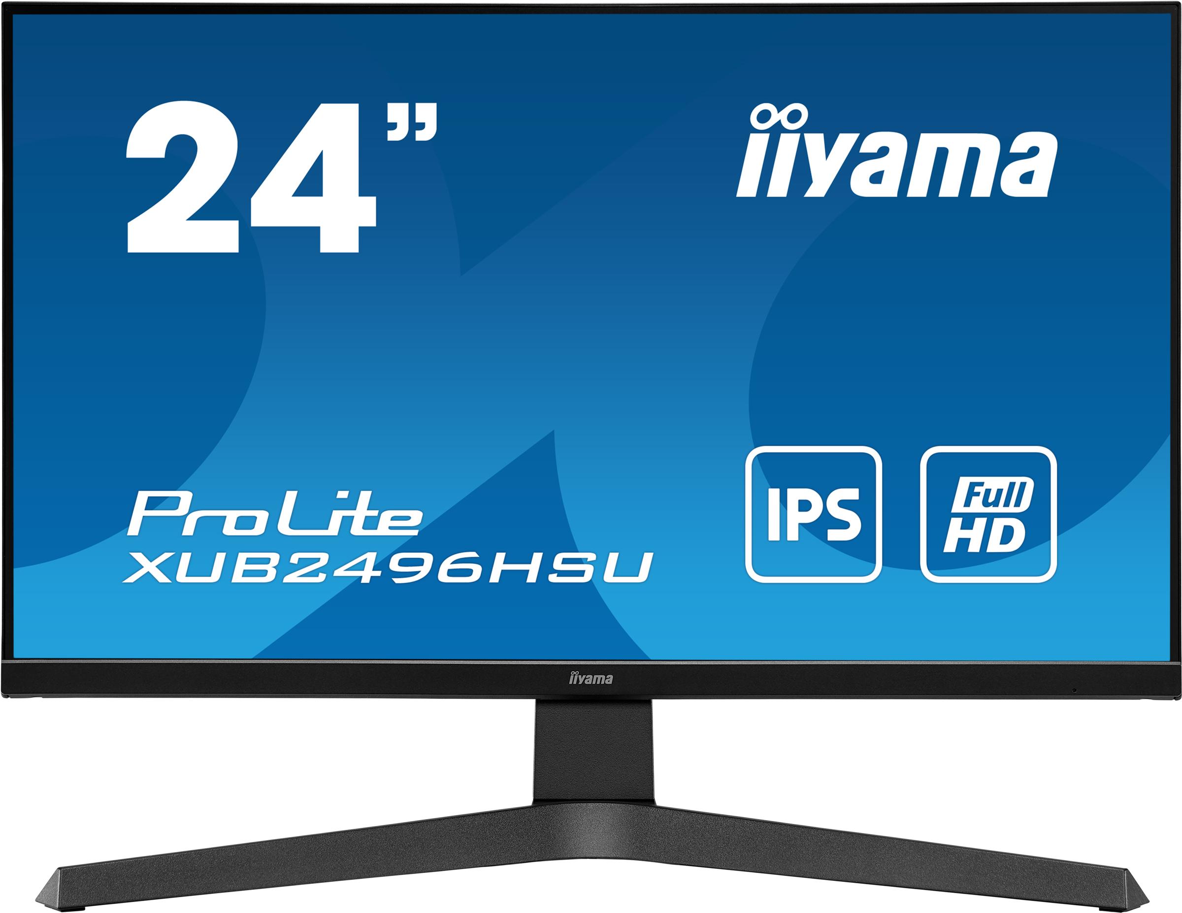 24'' iiyama XUB2496HSU-B1: IPS, FullHD@75Hz, 250cd/m2, 1ms, HDMI, DP, USB, height, pivot, černý - XUB2496HSU-B1