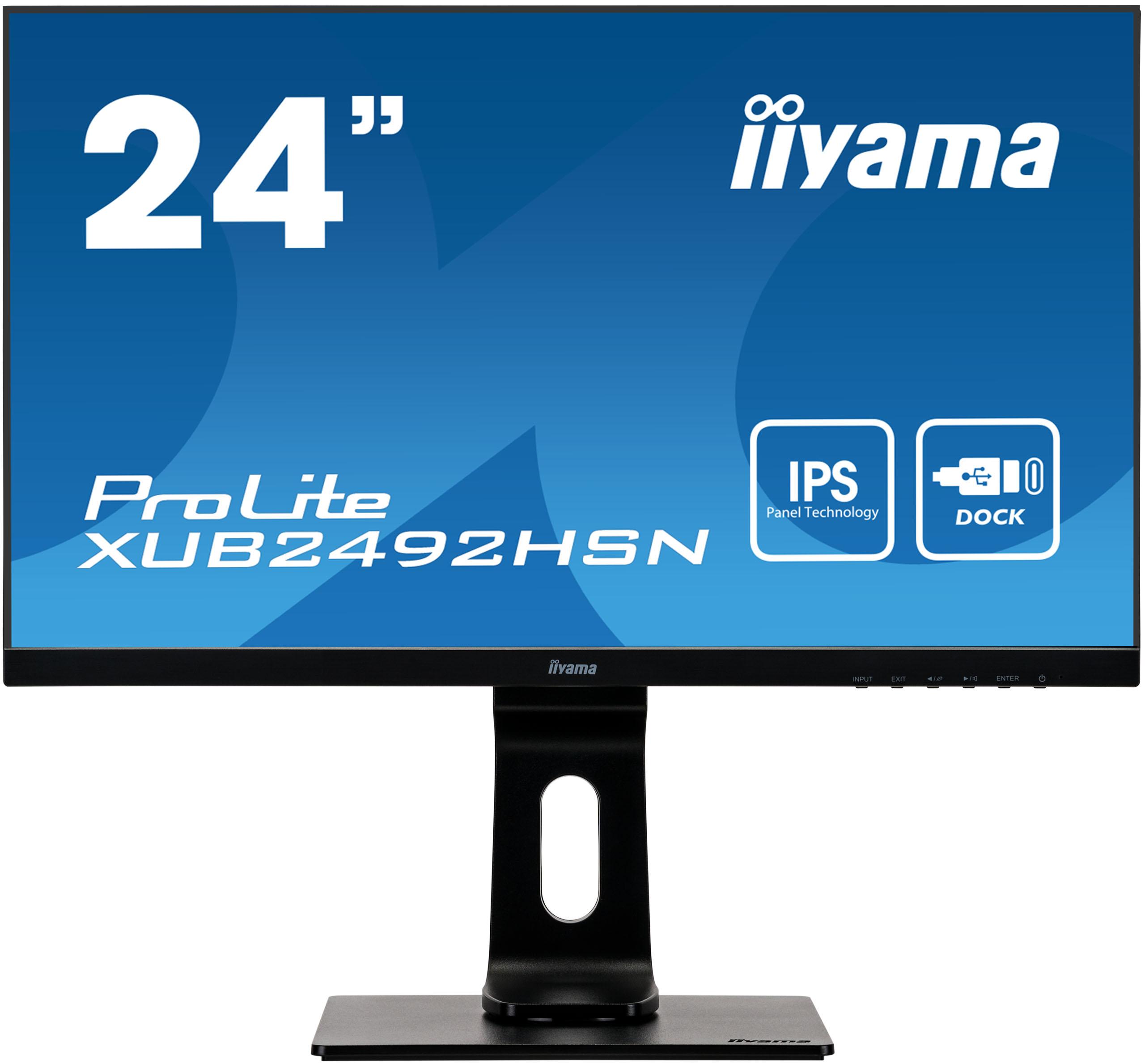 24'' iiyama XUB2492HSN-B1: IPS, FullHD@75Hz, 250cd/m2, 4ms, HDMI, DP, USB-C, height, pivot, černý - XUB2492HSN-B1