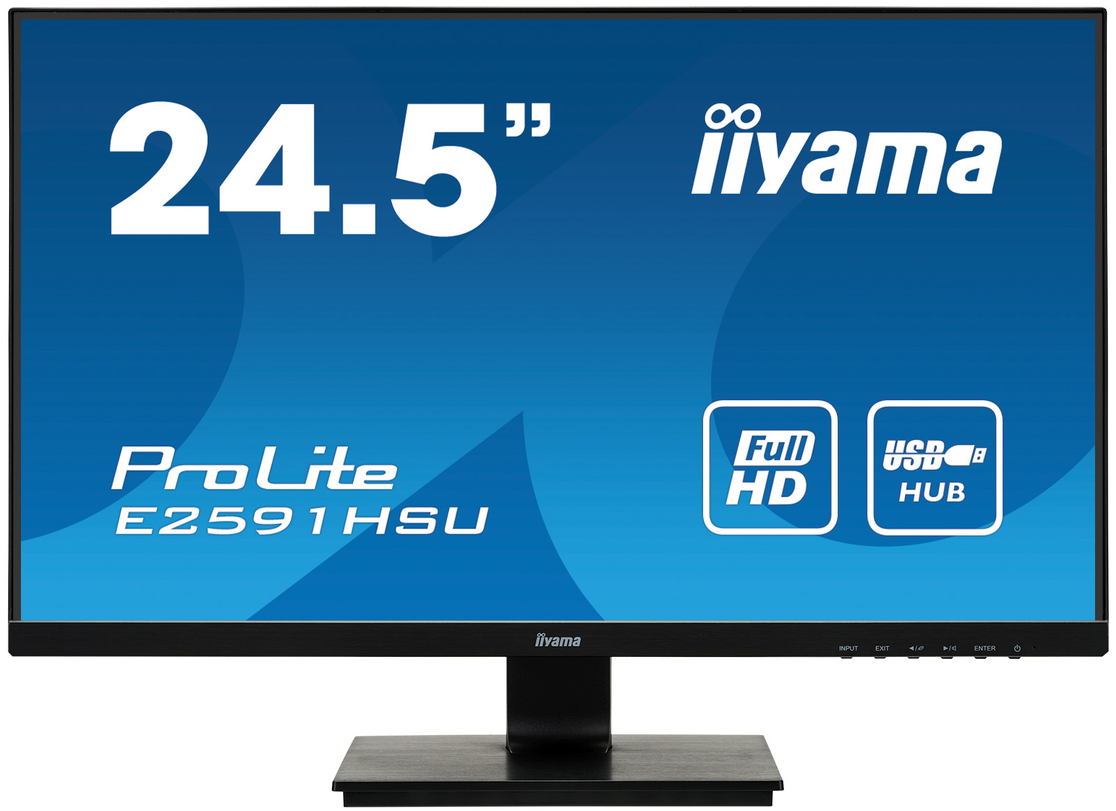 25'' iiyama E2591HSU-B1: TN, FullHD@75Hz, 250cd/m2, 1ms, VGA, HDMI, DP, USB, FreeSync, černý