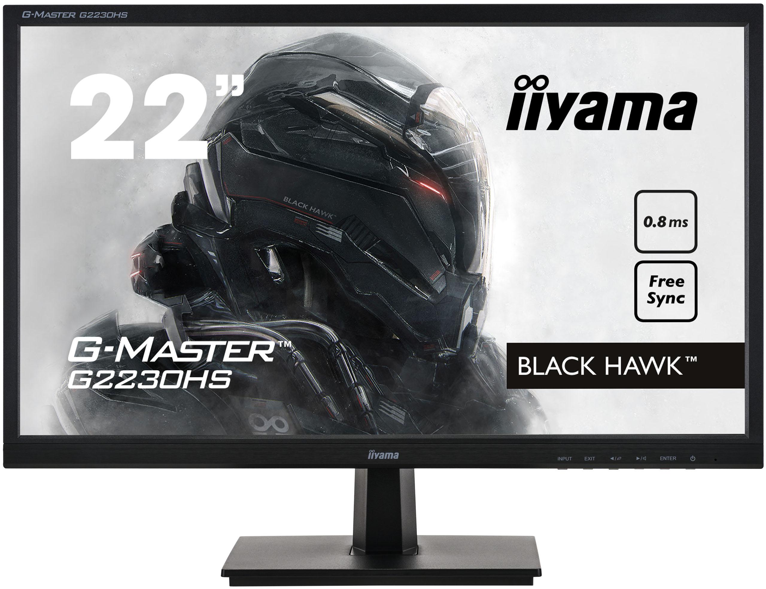 "22"" iiyama G-Master G2230HS-B1: TN, FullHD@75Hz, 0.8ms, HDMI, DP, VGA, FreeSync, černý"