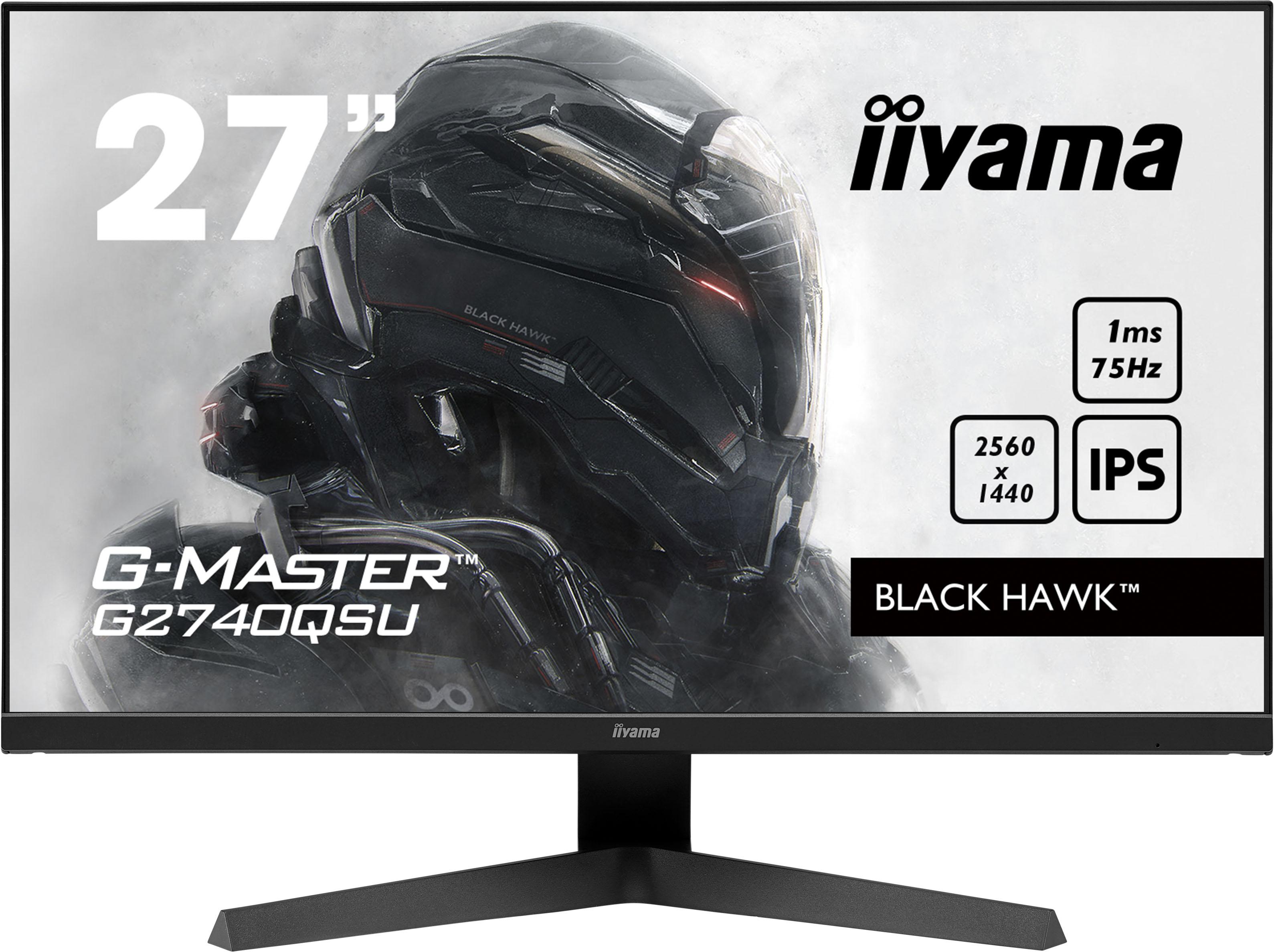 27'' iiyama G-Master G2740QSU-B1: IPS, WQHD@75Hz, 1ms, HDMI, DP, USB, FreeSync, černý - G2740QSU-B1