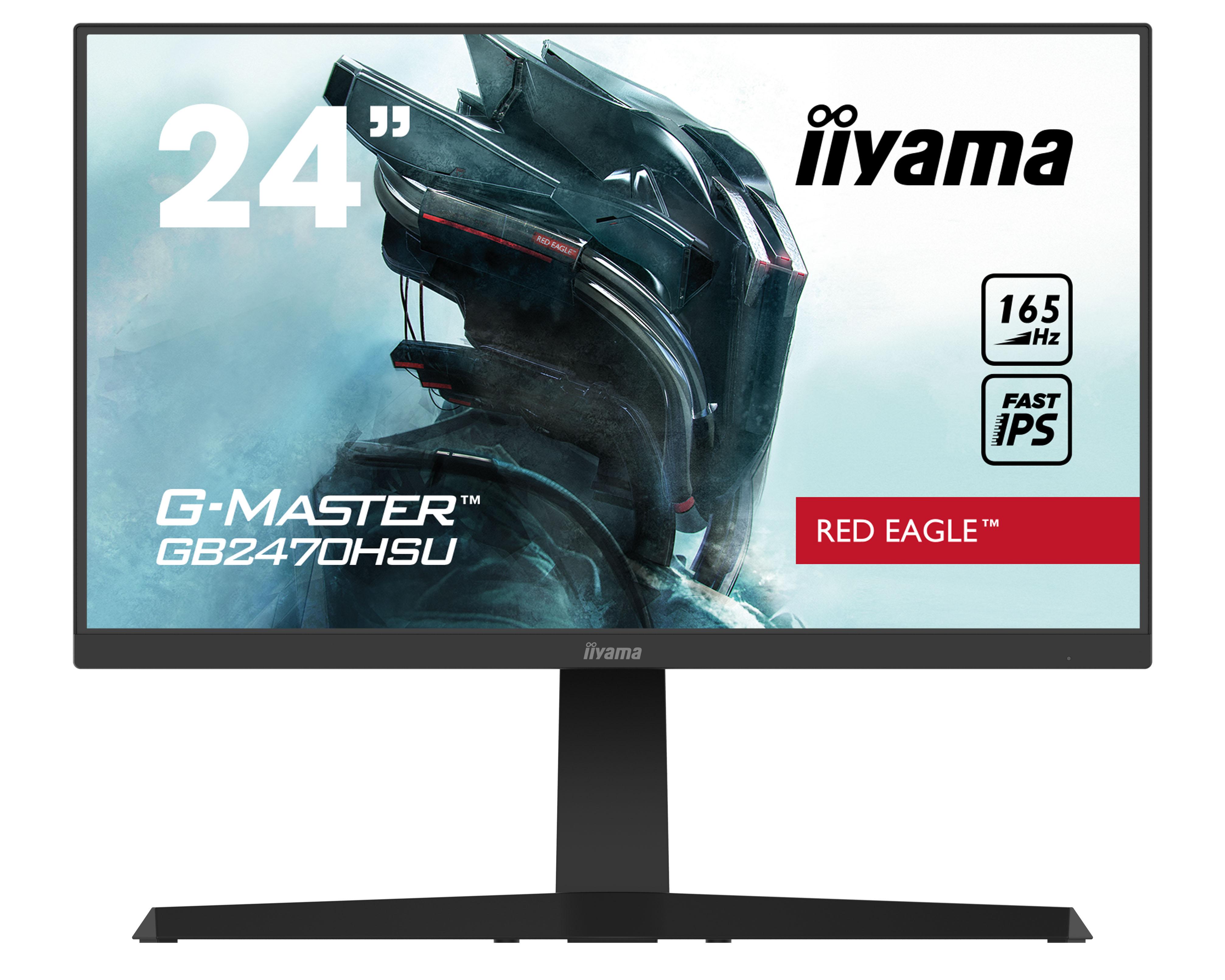 24'' iiyama G-Master GB2470HSU-B1: IPS, FullHD@165Hz, 0.8ms, HDMI, DP, USB, FreeSync, pivot, černý - GB2470HSU-B1