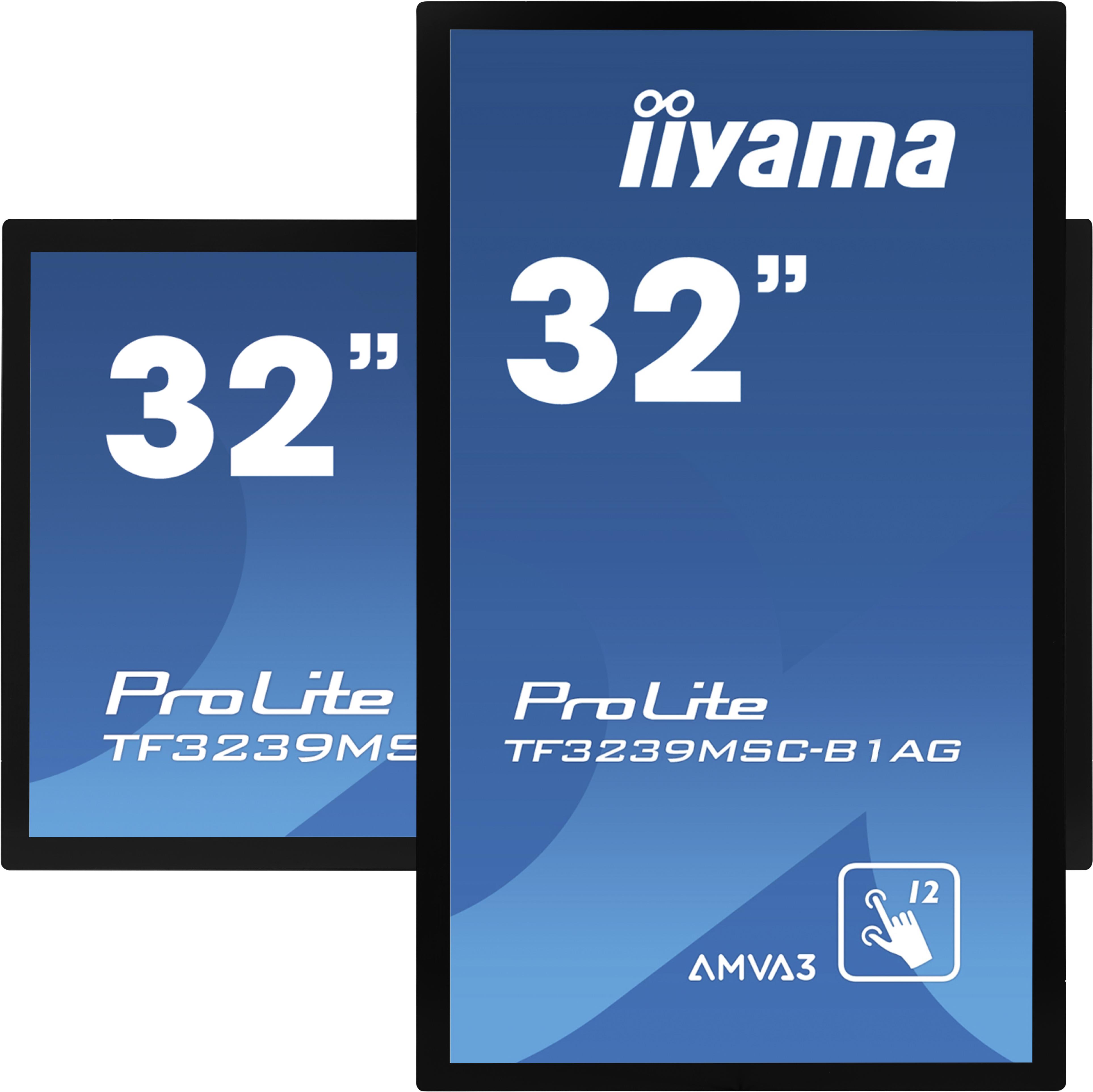 32'' iiyama TF3239MSC-B1AG: AMVA, FullHD, capacitive, 12P, 500cd/m2, VGA, HDMI, DP, 24/7, IP54, černý - TF3239MSC-B1AG