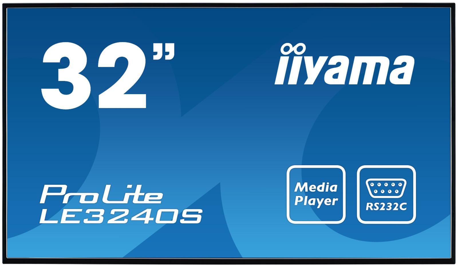 32'' iiyama LE3240S-B2: VA, FullHD, 350cd/m2, 12/7, VGA, DVI, HDMI, USB, RS-232c, RJ45, IR, černý - LE3240S-B2