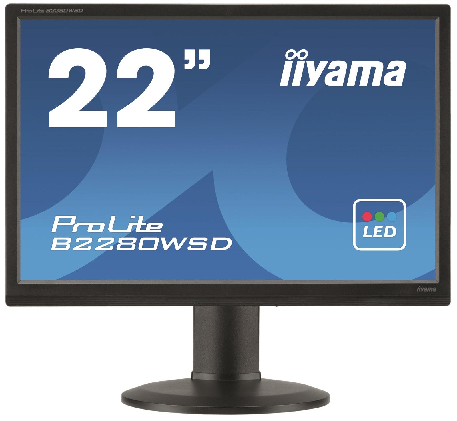 22''LCD iiyama B2280WSD-B1 - 5ms, 250cd/m2, 16:10, 1000:1, VGA, DVI, repro, pivot, výšk.nastav.,černý