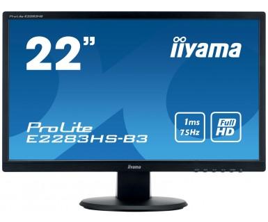 22''LCD iiyama E2283HS-B3 - 1ms, 250cd/m2, FullHD, 1000:1 (12M:1 ACR), VGA, HDMI, DP, repro, černý