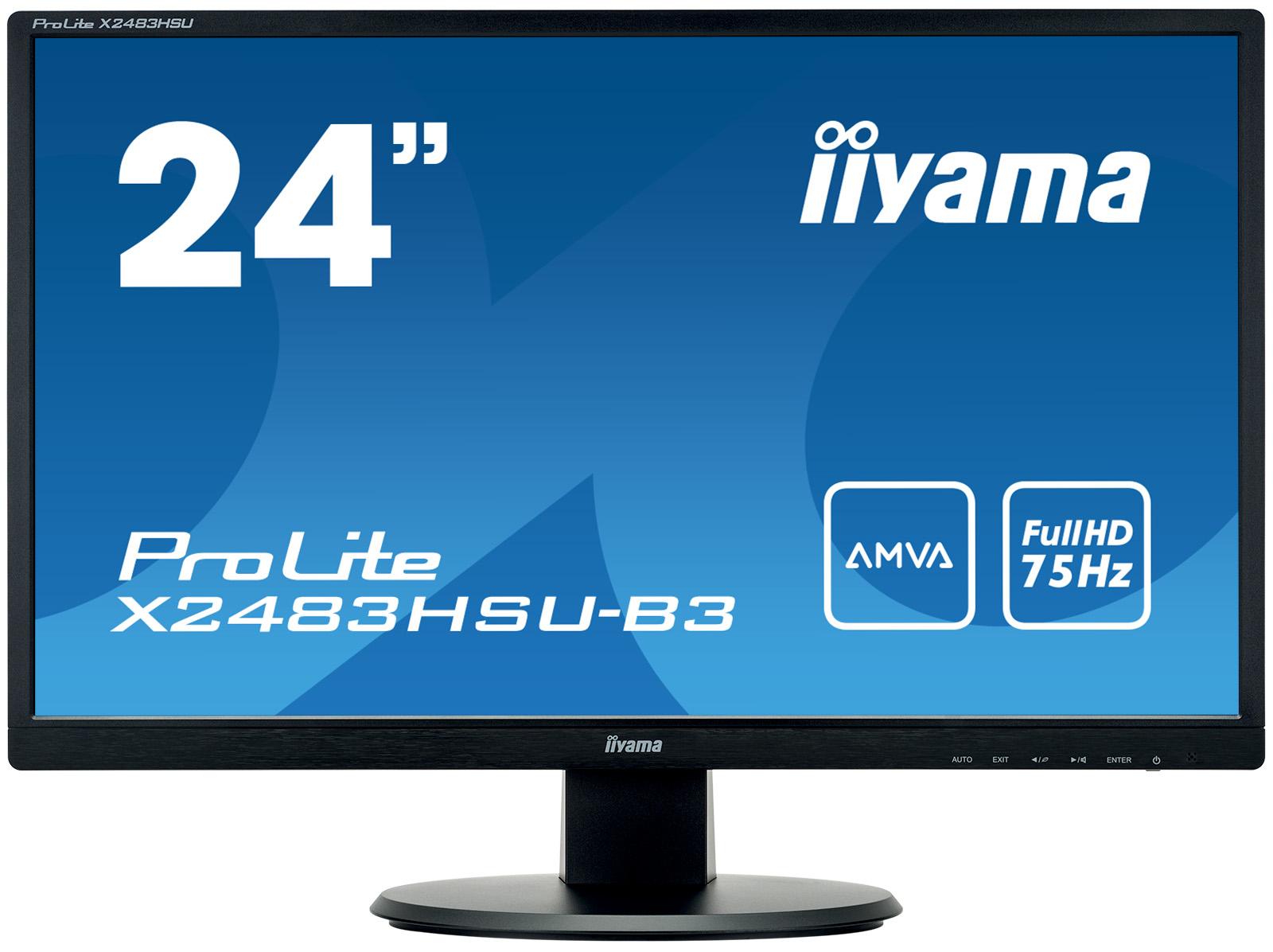 24''LCD iiyama X2483HSU-B3 - FullHD,4ms,250cd/m2,AMVA, HDMI,DP,VGA,USB,repro - X2483HSU-B3