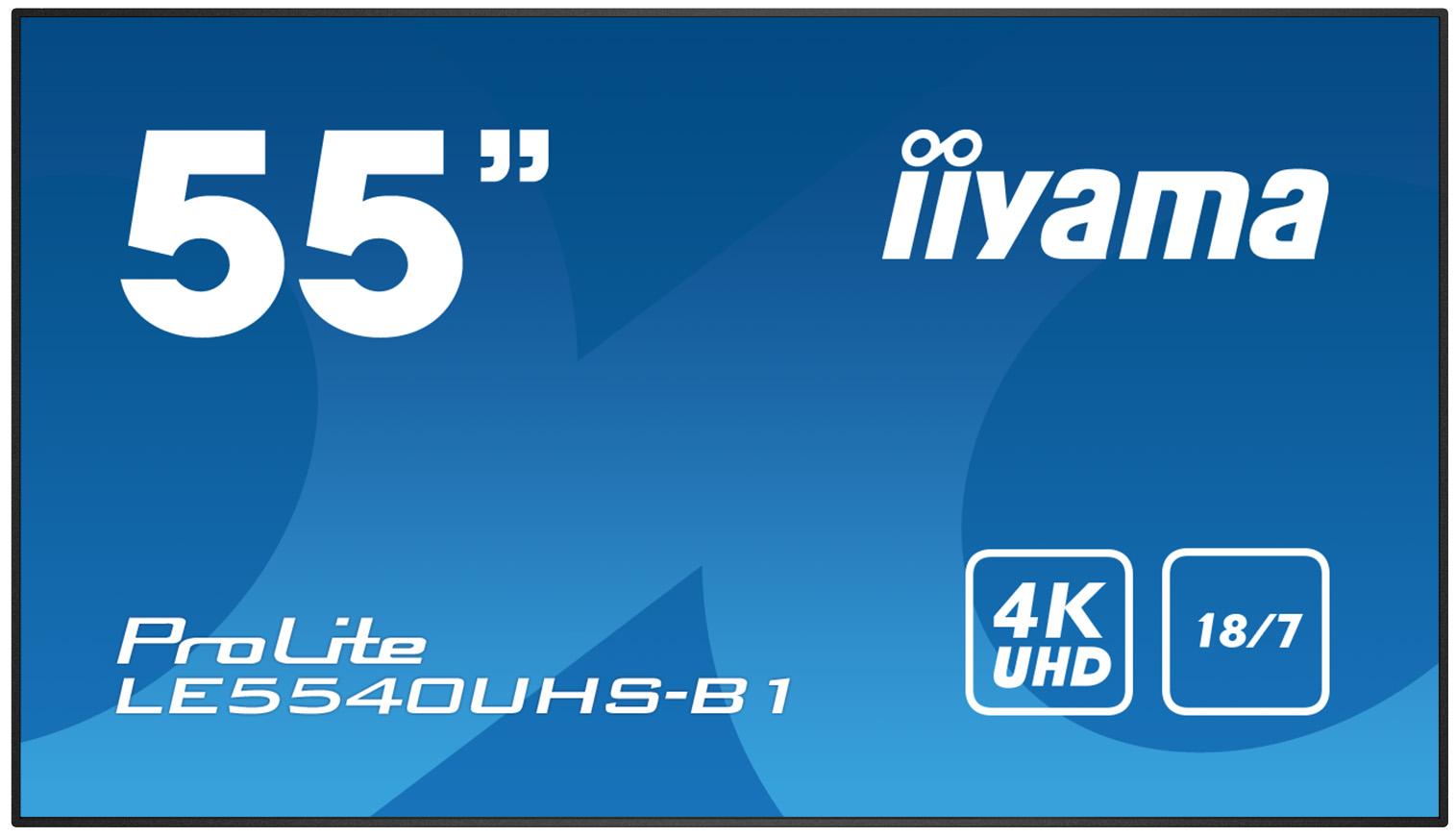 55'' iiyama LE5540UHS-B1 - AMVA3,4K UHD,8ms,350cd/m2, 4000:1,16:9,VGA,HDMI,DVI,USB,RS232,RJ45,repro - LE5540UHS-B1