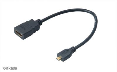 AKASA - HDMI na mikro HDMI adaptér - 25 cm - AK-CBHD09-25BK