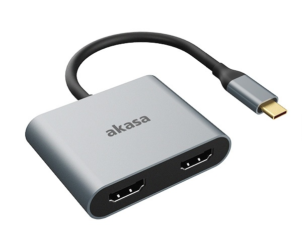 AKASA - adaptér Type-C na dual HDMI MST - AK-CBCA26-18BK