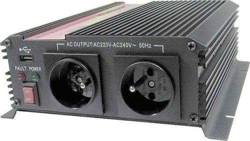Měnič napětí Carspa CAR1KU-24 24V/230V+USB 1000W, modifikovaná sinus - CAR1KU-242