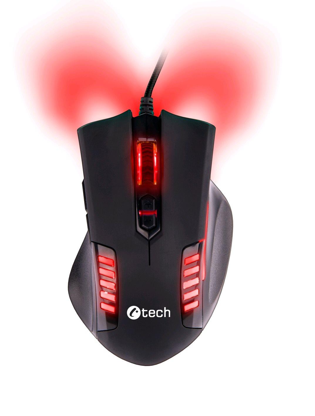 C-TECH Empusa herní myš, červené podsvícení, laser 3400DPI, USB