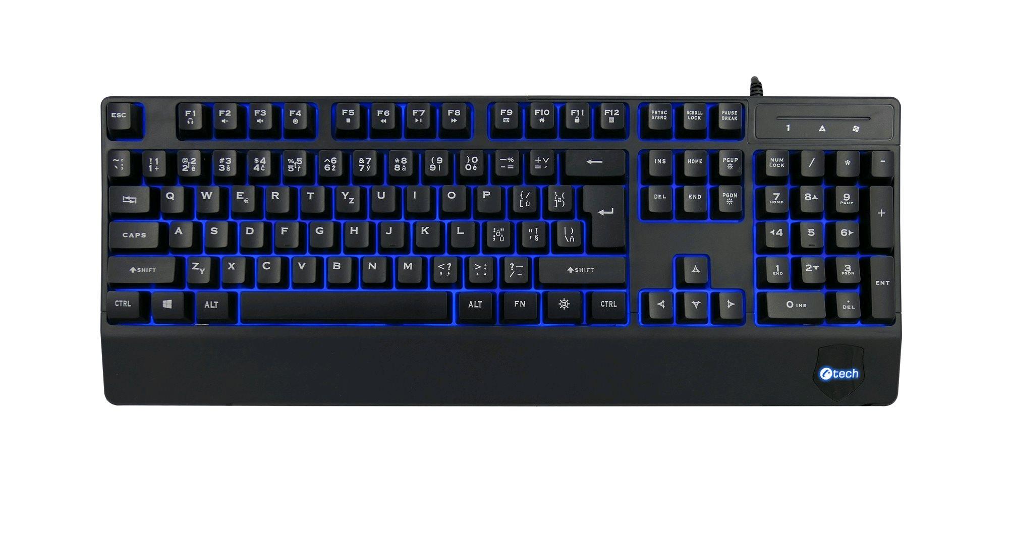 Klávesnice C-TECH KB-104BK, USB, 3 barvy podsvícení, černá, CZ/SK - KB-104BK