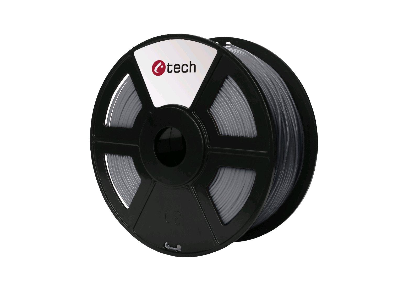 Tisková struna (filament) C-TECH, PLA, 1,75mm, 1kg, stříbrná - 3DF-PLA1.75-S