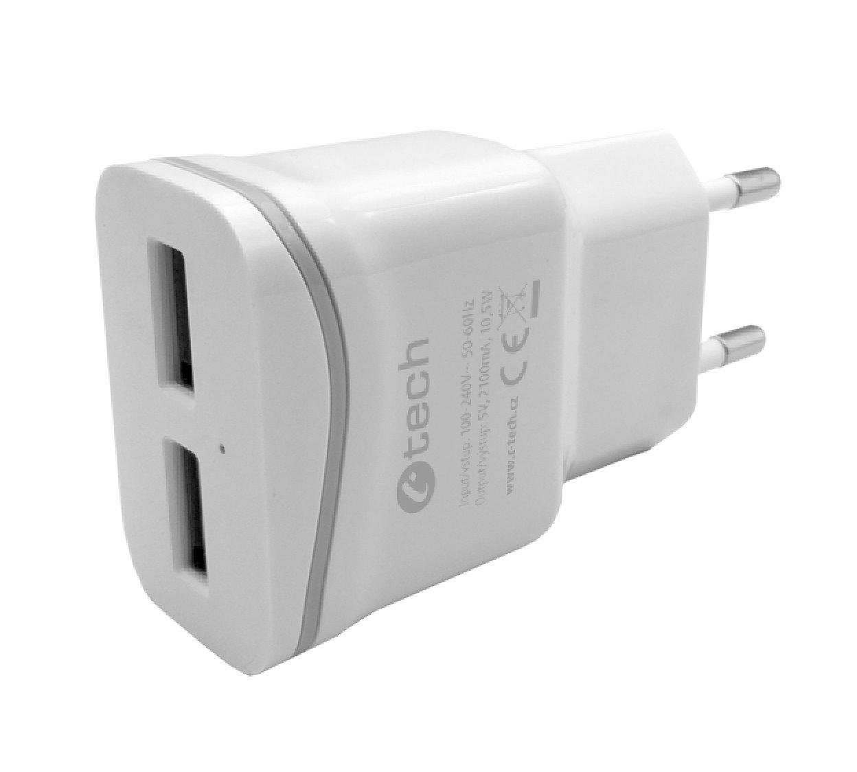 Nabíječka USB C-TECH UC-03, 2x USB, 2,1A, bílá - UC-03W