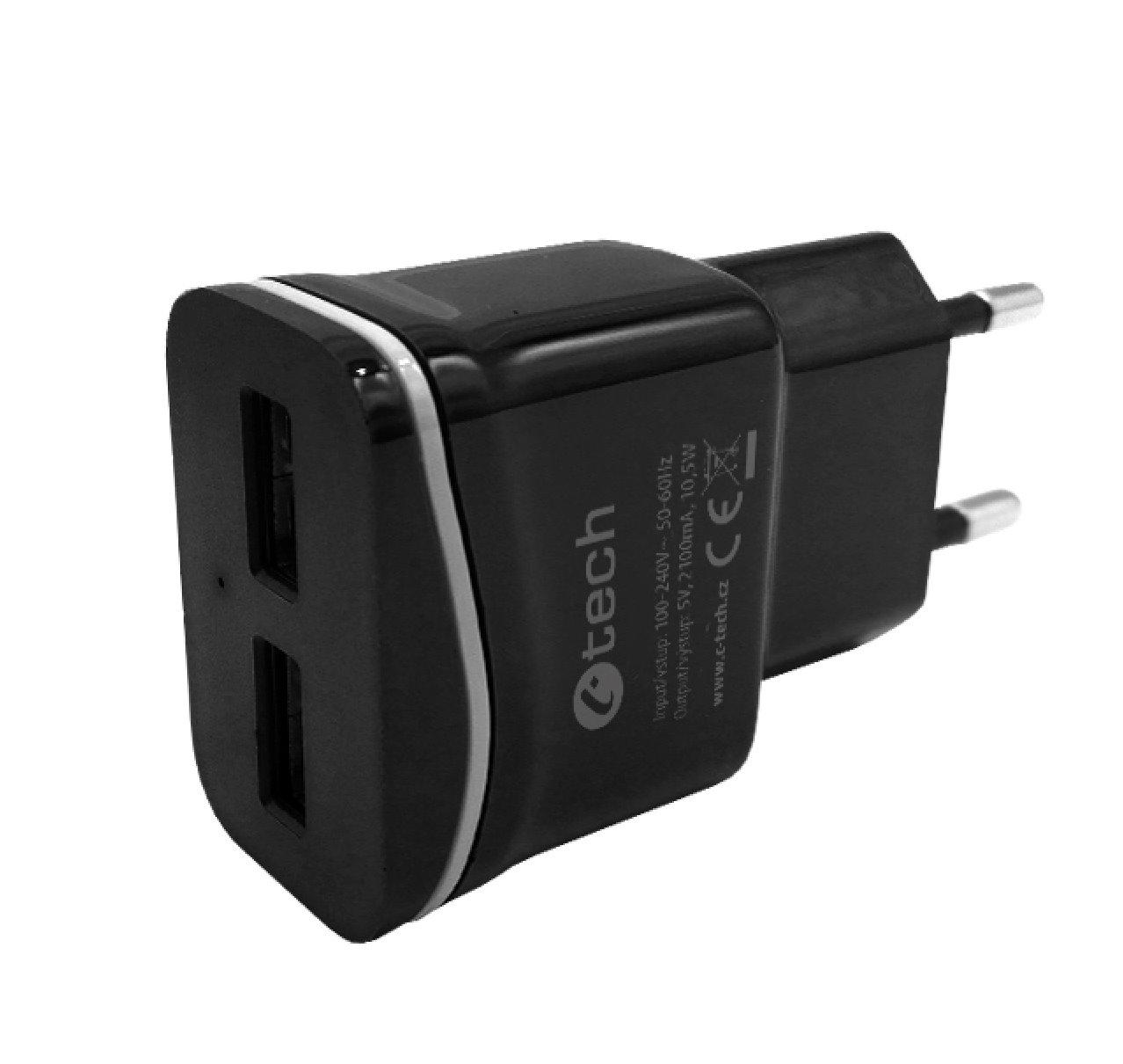 Nabíječka USB C-TECH UC-03, 2x USB, 2,1A, černá - UC-03BK