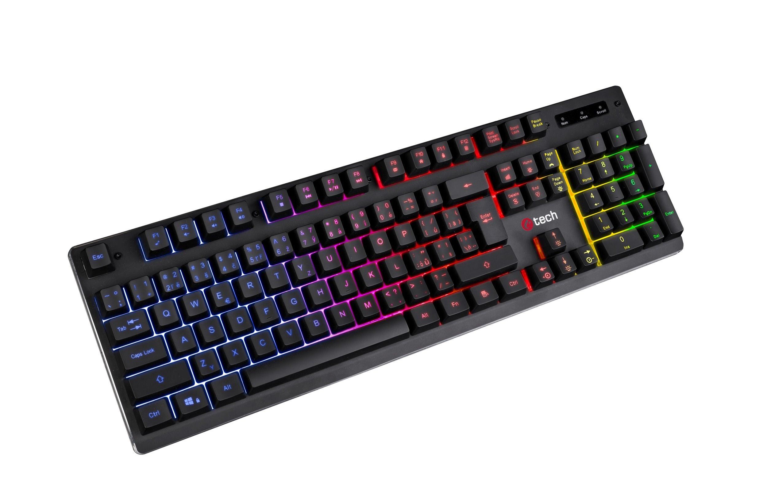Polomechanická herní klávesnice C-TECH Iris (GKB-08), casual gaming, CZ/SK, duhové podsvícení, USB - GKB-08