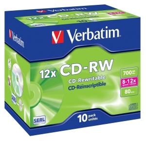 VERBATIM CD-RW(10-Pack)/Jewel/12x/700MB