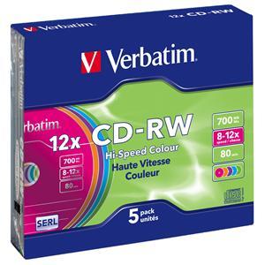 VERBATIM CD-RW(5-Pack)/Slim/Colours/12x/700MB - 43167
