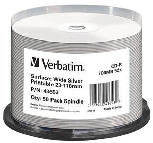 VERBATIM CD-R(50-Pack)Cake/Print/52x/700MB/NoID
