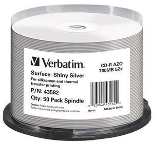 VERBATIM CD-R(50-Pack)Spindle/ShinySlvr/52x/700MB