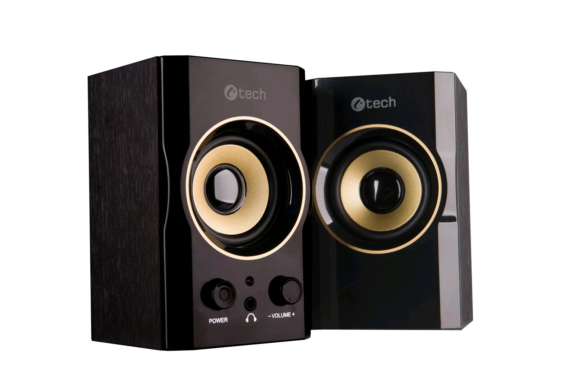 repro C-TECH SPK-11, 2.0, dřevěné, černo-zlaté, USB