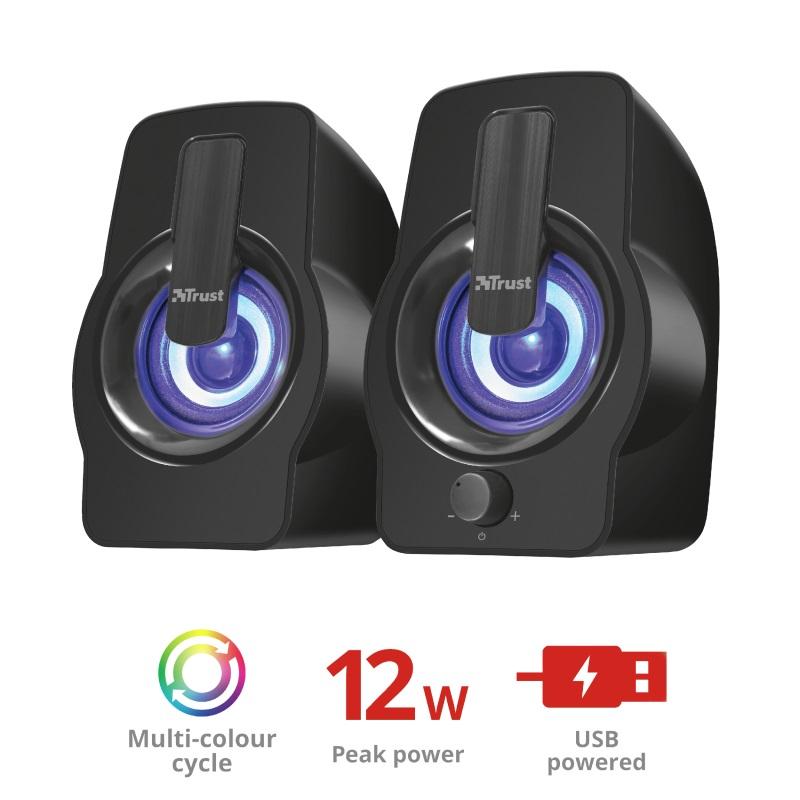 repro TRUST Gemi RGB 2.0 Speaker Set - black - 22948