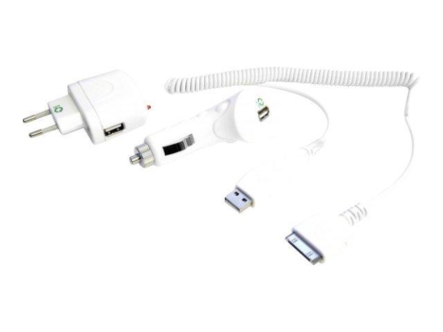 USB univ.nabíječka 230V 2in1, CL+Síť, iPod kabel