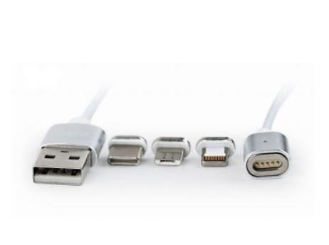 GEMBIRD magnetický kabel 3v1, 1m. střbrný - CC-USB2-AMLM31-1M