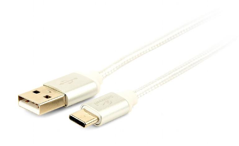 GEMBIRD Opletaný USB-C - USB 2.0,  M/M, 1,8 m, stříbrný - CCB-mUSB2B-AMCM-6-S